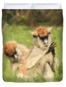 Two Patas Monkeys Erythrocebus Patas Grooming Duvet Cover