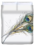 Two Peacock Feathers Duvet Cover