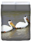 Two Pelicans Duvet Cover