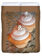 Two Pink Cupcakes Art Prints Duvet Cover