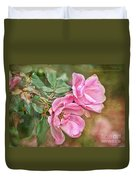 Two Pink Roses I  Blank Greeting Card Duvet Cover