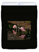 Two Pink Spoonbills Duvet Cover