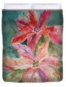 Two Poinsettias Duvet Cover