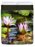 Two Purple Water Lotus Duvet Cover