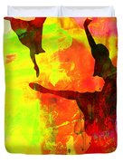 Two Red Ballerinas Watercolor  Duvet Cover