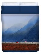 Two Red Farm Buildings Duvet Cover