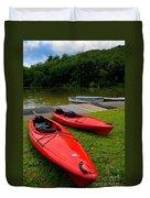 Two Red Kayaks Duvet Cover