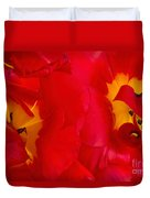 Two Red Tulips Duvet Cover