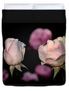 Two Roses And A Fly Duvet Cover by Tomasz Dziubinski
