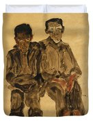 Two Seated Boys Duvet Cover by Egon Schiele