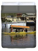 Two Shikaras Next To Each Other In The Dal Lake Duvet Cover