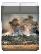 Two Smoke Columns White Draw Fire Duvet Cover