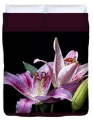 Two Star Lilies Duvet Cover