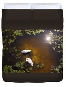 Two Swans With Sun Reflection On Shallow Water Duvet Cover