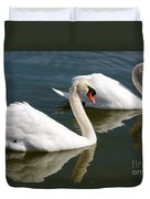 Two Swimming Swans Duvet Cover