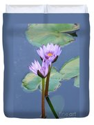 Two Tall Water Lilies Duvet Cover