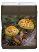 Two Toadstool Chums On A Log Duvet Cover