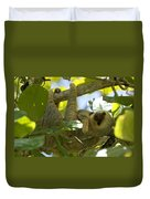 Two-toed Sloth Relaxing With A Grin Duvet Cover