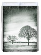 Two Trees In A Field Duvet Cover
