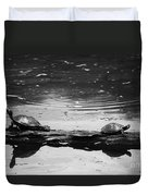 Two Turtles On A Log Duvet Cover