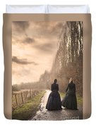 Two Victorian Ladies Walking On A Cobbled Path Duvet Cover