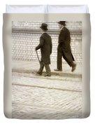 Two Victorian Men Walking Duvet Cover