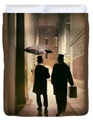 Two Victorian Men Wearing Top Hats In The Old Alley Duvet Cover