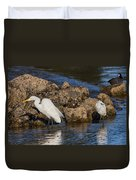 Two White Herons And A Coot Duvet Cover