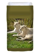 Two White Lions Duvet Cover