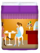 Two Woman Friends Having Coffee Duvet Cover