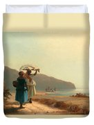 Two Women Chatting By The Sea. St Thomas Duvet Cover