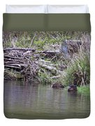 Two Working Beavers Duvet Cover