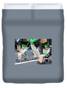 Two Young Girls Marching In The 2009 New York St. Patrick Day Parade Duvet Cover