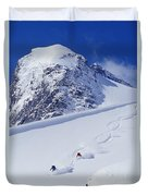 Two Young Men Skiing Untracked Powder Duvet Cover