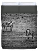 Two Zebras Eating. Tanzania Duvet Cover