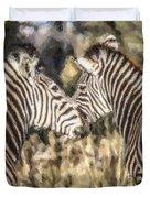 Two Zebras Equus Quagga Nuzzlling Duvet Cover