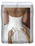 Tying The Bow On A Wedding Dress Duvet Cover