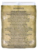 Typography Art Desiderata Poem On Watercolor Duvet Cover