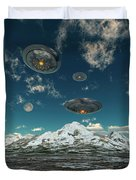 Ufos Flying Over A Mountain Range Duvet Cover