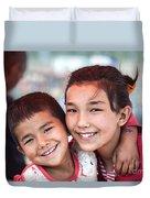 Uighur Children At Kashgar Market Xinjiang China Duvet Cover