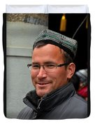 Uighur Man In Traditional Cap Smiles Duvet Cover