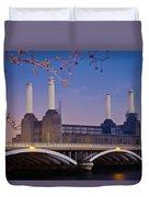 Uk, England, View Of Battersea Power Duvet Cover