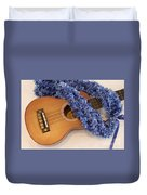 Ukulele And Blue Ribbon Lei Duvet Cover
