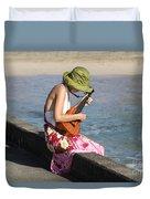 Ukulele Lady At Hanalei Bay Duvet Cover