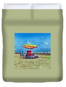 Umbrellas At The Beach Duvet Cover