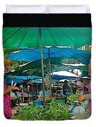 Umbrellas In The Marketplace In Tachilek-burma Duvet Cover