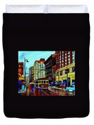 Umbrellas In The Rain Couples Stroll St.catherine Street Downtown Montreal Vintage  City Scene  Duvet Cover