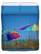 Umbrellas On Sanibel Island Beach Duvet Cover