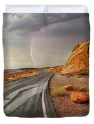Uncertainty - Lightning Striking During A Storm In The Valley Of Fire State Park In Nevada. Duvet Cover