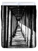 Under Huntington Beach Pier Black And White Picture Duvet Cover